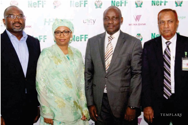 (From L-R) Templars Banking & Finance Partner, Chike Obianwu; Director, Consumer Protection Department at the Central Bank of Nigeria (CBN), Hajiya Umma Dutse; Chairman of NeFF and Director of the Banking and Payment System at the CBN, Mr. Dipo Fatokun; Managing Director and Chief Executive Office of Jaiz Bank, Mohammad Nurul Islam at the Nigeria Electronic Fraud Forum (NeFF) seminar in Lagos on the newly enacted Cybercrime Act and the fight against E-Fraud in Nigeria.